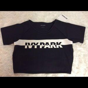 Ivy park Dri Fit Crop Top Black & White Logo Large